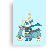 Be-All-You-Can-Be Bunny Rides in to Save the Day Canvas Print