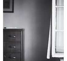 Country house window open summer afternoon Tuscany Italy black and white square silver gelatin film analog photo Photographic Print
