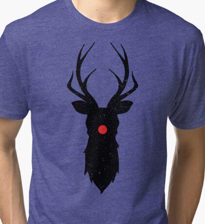 Minimal Reindeer (Black) Tri-blend T-Shirt