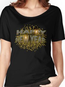 Happy New Year Unique Gold Fireworks New Years Eve T-Shirt Women's Relaxed Fit T-Shirt
