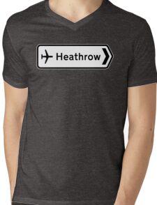 Heathrow Airport, Road Sign, London, UK Mens V-Neck T-Shirt