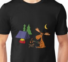 Cool Funny Moose Camping Unisex T-Shirt