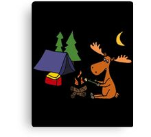 Cool Funny Moose Camping Canvas Print