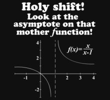 Hilarious 'Holy Shift! Look at the asymptote on that mother function' Math Geek T-Shirt (White on Black) by Albany Retro