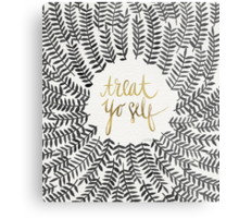 Treat Yo Self – Gold & Grey Metal Print