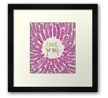 Treat Yo Self – Gold & Pink Framed Print