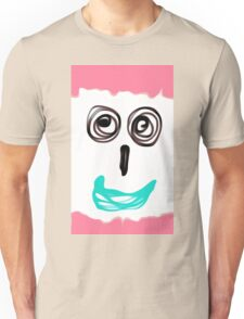 funny face with pink background and blue lip Unisex T-Shirt
