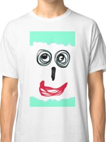 funny face with blue background and red lip Classic T-Shirt