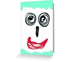 funny face with blue background and red lip Greeting Card