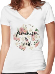 feminism is rad Women's Fitted V-Neck T-Shirt