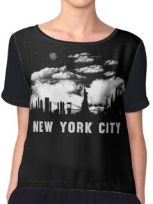 New York City Skyline Cityscape Night  Chiffon Top