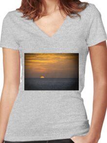Sunrise at dawn golden sky Women's Fitted V-Neck T-Shirt