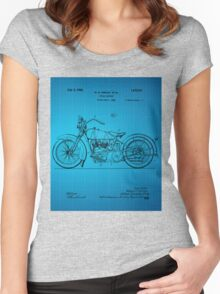 Motorcycle Patent 1925 - Blue Women's Fitted Scoop T-Shirt