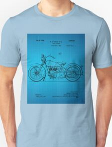 Motorcycle Patent 1925 - Blue T-Shirt