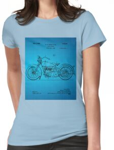 Motorcycle Patent 1925 - Blue Womens Fitted T-Shirt