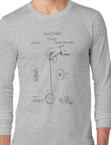 Vintage Yoyo Patent Drawing From 1866 Long Sleeve T-Shirt