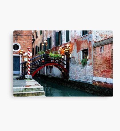 Impressions Of Venice - the Charming Christmassy Bridge Up Close Canvas Print