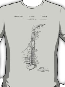 Saxophone Patent Drawing From 1933 T-Shirt
