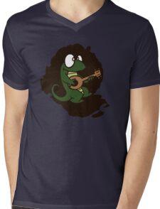 lizard lézard music cartoon fun bass guitar mandolin Mens V-Neck T-Shirt