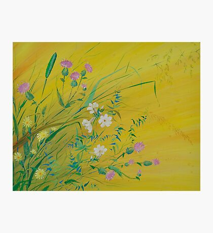 Field Flowers on Yellow Photographic Print