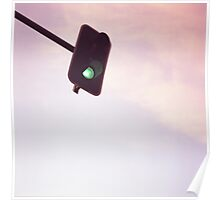 Green traffic go light signal and sky still life blue square Hasselblad medium format film analog photograph Poster
