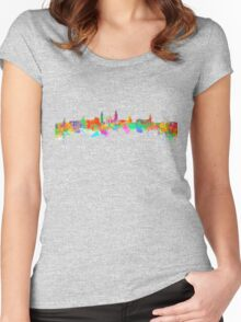 Glasgow Art Watercolor art print of the skyline of Glasgow, Scotland, United Kingdom Women's Fitted Scoop T-Shirt