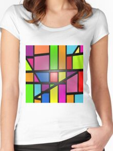 Colorful shiny Abstract Tiles Women's Fitted Scoop T-Shirt