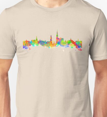 Watercolor art print of the skyline of Antwerp in Belgium Unisex T-Shirt