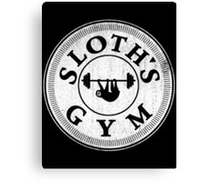 Sloth's Gym Distressed White Canvas Print