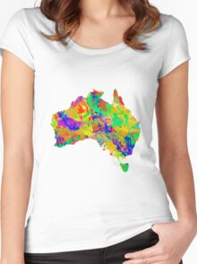 Australia Watercolor Map Women's Fitted Scoop T-Shirt
