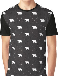 Black shabby pattern with bears Graphic T-Shirt