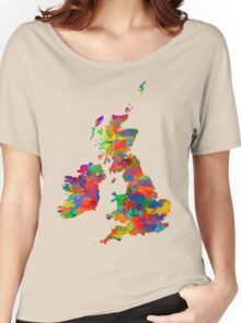Great Britain Watercolor Map Women's Relaxed Fit T-Shirt
