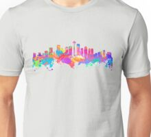 Watercolor art print of the skyline of Seattle United States Unisex T-Shirt