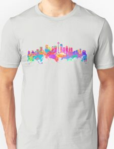 Watercolor art print of the skyline of Seattle United States T-Shirt