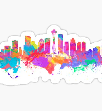 Watercolor art print of the skyline of Seattle United States Sticker