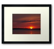 Wind turbines at sunset Framed Print