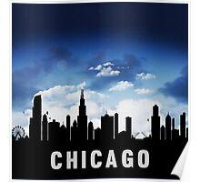 Chicago Illinois Skyline Cityscape Nightfall Poster