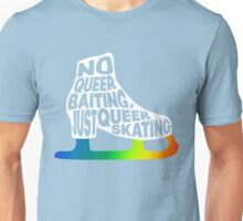 No Queer Baiting - Just Queer Skating (white w/ rainbow blade) Unisex T-Shirt