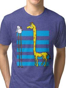 La girafe et l'oiseau Tri-blend T-Shirt