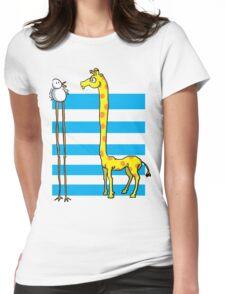 La girafe et l'oiseau Womens Fitted T-Shirt