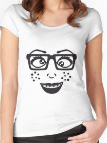 geek nerd hornbrille schlau frau weiblich girl sexy gesicht grinsen comic cartoon text schrift logo design cool crazy verrückt verwirrt blöd dumm komisch gestört  Women's Fitted Scoop T-Shirt