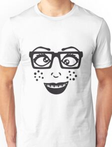 geek nerd hornbrille schlau frau weiblich girl sexy gesicht grinsen comic cartoon text schrift logo design cool crazy verrückt verwirrt blöd dumm komisch gestört  Unisex T-Shirt