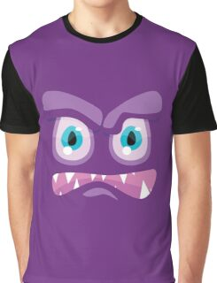 Angry Purple Cartoon Face Graphic T-Shirt