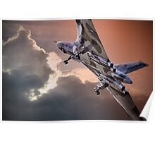 Vulcan XH558 takes off at Farnborough 2014 Poster