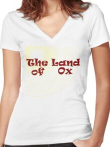 The Land of Ox Women's Fitted V-Neck T-Shirt