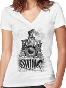 Vintage Locomotive Train - Front Facing Women's Fitted V-Neck T-Shirt
