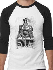 Vintage Locomotive Train - Front Facing Men's Baseball ¾ T-Shirt