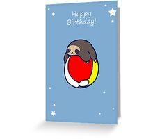 Happy Birthday Beach Ball Sloth Greeting Card