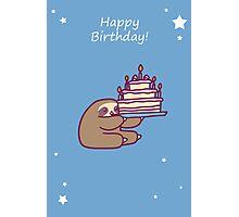 Happy Birthday Cake Sloth Photographic Print