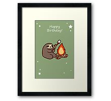 Happy Birthday Campfire Sloth Framed Print